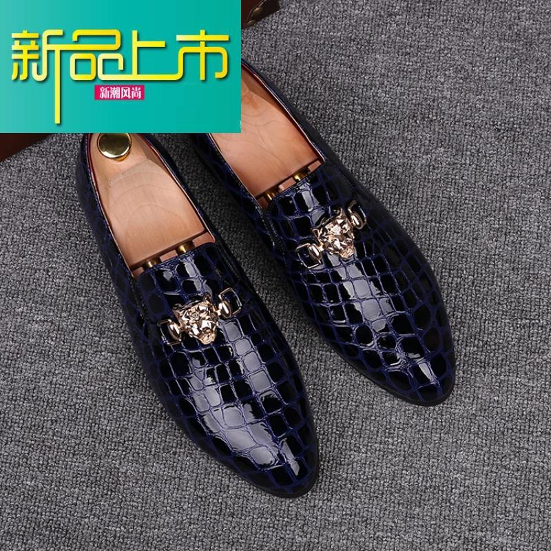 新品上市英伦风男鞋套脚懒人尖头皮鞋金属夜店型师潮鞋韩版内增高豆豆鞋   新品上市,1件9.5折,2件9折