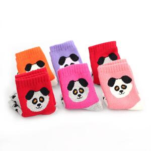 彩桥儿童袜加厚保暖毛圈袜男童女童袜子加厚毛巾袜卡通袜子6双盒装暖冬行动