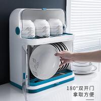 厨房碗架碗筷收纳盒带盖放餐具装碗箱碟盘沥水置物架塑料碗柜家用