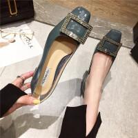 时尚气质女士浅口单鞋新款水钻方头粗跟百搭舒适女鞋女