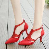 户外罗马凉鞋女仙女风时尚百搭尖头细跟高跟鞋配裙子的鞋
