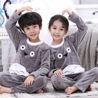 儿童睡衣女童法兰绒秋冬款薄款男孩珊瑚绒宝宝家居服小孩套装