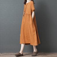 大码女装连衣裙胖妹妹洋气宽松减龄遮肚子藏肉时髦中长裙新款