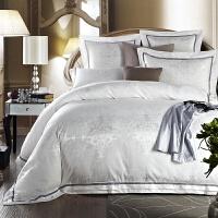欧式 家纺家居床上用品四件套贡缎提花4件套婚庆套件T 白色 杰西卡纯白