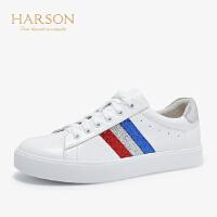 【 限时3折】哈森2019春夏新款休闲鞋 板鞋女单鞋 牛皮革平底小白鞋HS98203