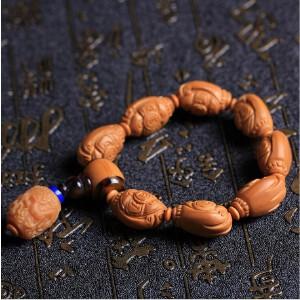 江苏名家雕刻橄榄核橄榄胡天然油亮雕刻财源滚滚财神佛珠手链拍卖