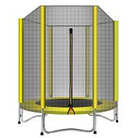儿童健身玩具蹦蹦床家用儿童蹦极床带护网跳跳床宝宝室内玩具蹦床游戏运动弹床 直径1.5米加固款 黄色