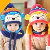 四4五5六6七7八8九9个月男婴儿秋冬帽子0-1岁半2岁女宝宝冬装围脖