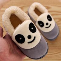 熊猫包跟女儿童棉拖鞋加绒加厚底冬季保暖卡通家居冬天小孩家用