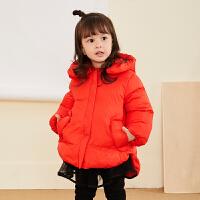 【2件88/3件8折后到手价:391.2元】马拉丁童装女小童羽绒服冬装新款可爱A版红色连帽羽绒外套