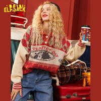 【2件2.5折:99】妖精的口袋圣诞风套头女士毛衣2019秋冬季新款宽松外穿ins针织衫