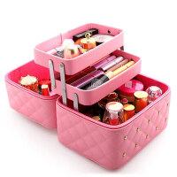 大容量韩式化妆包可爱小号方品中袋随身便携手提收纳盒简约化妆箱创意家居护肤品彩妆分层整理 单个装