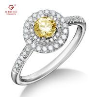 先恩尼钻石 白18K金婚戒 钻石戒指 黄钻 克拉钻效果 彩钻 结婚戒指 订婚戒指 求婚戒指 ZJ260 付证书