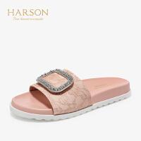 【秋冬新款 限时1折起】哈森 2019夏季新款羊皮革水钻方扣平底一HM97143