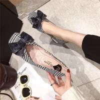 单鞋女2019春季新款方头浅口布面蝴蝶结甜美平底鞋韩版时尚低帮鞋