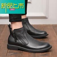 新品上市冬季加绒马丁靴男潮百搭真皮英伦短靴欧美时尚双拉链靴子男