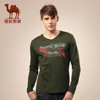 骆驼男装 秋季V领商务休闲内搭男士长袖T恤 新品