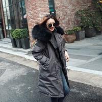 大毛领中长款羽绒服2018冬装新款反季宽松女士保暖外套 军绿色