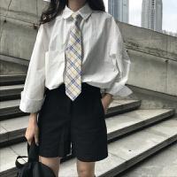 新年特惠2019新款白色衬衫女装韩范早秋上衣慵懒港味长袖衬衣学生潮 均码