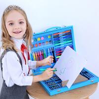 儿童绘画文具套装水彩笔蜡笔绘画笔工具美术画画铅笔*盒装 木质带画架蓝色 122件木质带画板