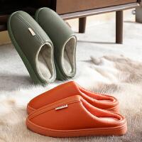 泰蜜熊PU防水防滑棉拖鞋女冬季情侣防滑防水保暖软底月子棉拖鞋家居家用室内男士