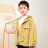 【秒杀价:270元】马拉丁童装男大童外套春装2020年新款休闲连帽设计风衣外套