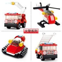 小鲁班�犯咝⌒突�木玩具车儿童拼图男孩智力拼装小盒装拼插小汽车