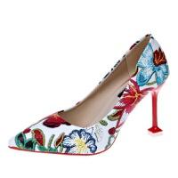 创意时尚新款猫跟花色高跟鞋 低帮女士单鞋 增高透气耐磨女鞋批发