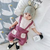 新生儿夏季薄款外出服条纹连体衣婴儿衣服婴儿假背带裤男童女童装