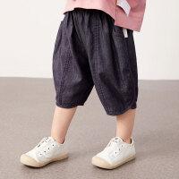 【秒杀价:122元】马拉丁童装女小童裤子2020夏装新款洋气设计宽松阔腿牛仔裤