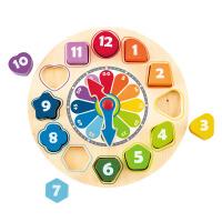 Hape积木时钟3-6岁木钟模型木质儿童宝宝益智早教智力拆装玩具早教益智游戏E8043