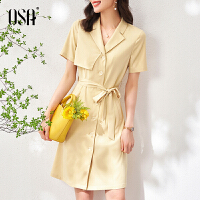 OSA夏装2021新款黄色不规则西装连衣裙女士短袖a字裙收腰显瘦裙子