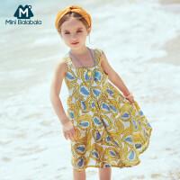 【2件3.8折】迷你巴拉巴拉女童吊带连衣裙2019夏季新品复古公主裙薄款裙子长裙
