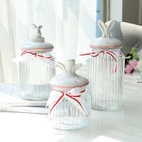北欧透明玻璃储物罐动物陶瓷盖零食糖果五谷收纳密封罐子摆件装饰