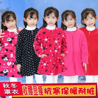围衣儿童季秋冬罩衣漂亮儿童女童中大童冬棉绒饭衣小孩子长袖中童