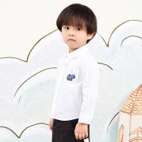 【秒杀价:135元】马拉丁童装男小童衬衫春装2020年新款休闲白色儿童打底衬衫