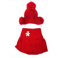 可爱宝宝帽子  婴儿帽子女公主帽子围巾两件套 男 儿童帽子韩国