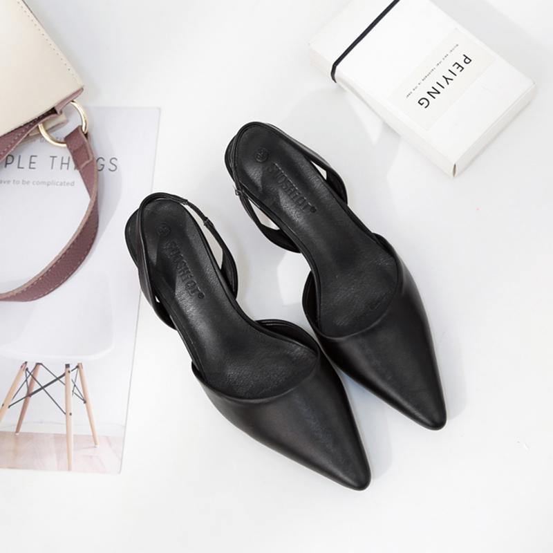 凉鞋女中跟新款网红鸡蛋跟尖头穆勒鞋包头半拖鞋女社会鞋
