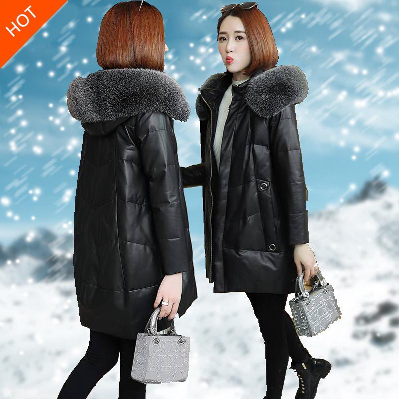 2019冬季新款保暖防pu皮皮衣羽绒服女中长款大码皮草外套 黑色