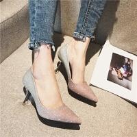 201902170618449672018春季时尚英伦风女士单鞋百搭浅口尖头女鞋新款细跟舒适高跟鞋