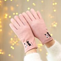 手套女冬天韩版百搭麂皮绒加绒加厚保暖骑车用可爱触屏全指皮手套