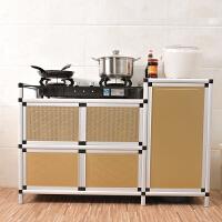 简易不锈钢拉丝橱柜 煤气炉灶台柜碗柜餐边柜煤气瓶柜茶水柜储物收纳柜 5门