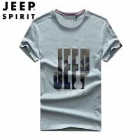 吉普(JEEP)短袖t恤男装 夏装薄纯棉户外休闲半袖上衣T恤 圆领印花纯色大码短袖t恤男