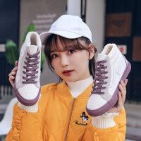 棉鞋女冬季加绒2018新款韩版百搭雪地靴短筒学生加厚高帮帆布鞋子