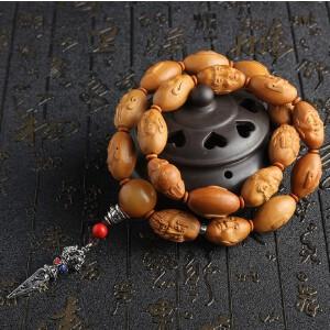 天然饱满橄榄核精雕十八罗汉佛珠手串 高油性橄榄胡手持珠手链拍卖