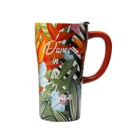 陶瓷杯马克杯带盖带勺大容量杯子简约北欧早餐杯咖啡杯