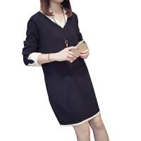 新年特惠大码女装打底衫新款韩版秋冬胖mm洋气遮肚减龄条纹毛衣针织连衣裙 XL 100-130斤