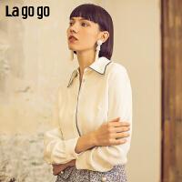 【清仓5折价179】Lagogo/拉谷谷2019年春季新款时尚淑女英伦学院风衬衫IACC431A17