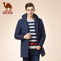 骆驼男装 冬款新款青年长袖纯色中长款单排扣外套棉服 棉衣男