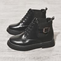 马丁靴女冬2018新款英伦风系带短筒加绒短靴女粗跟复古帅气机车靴 黑色